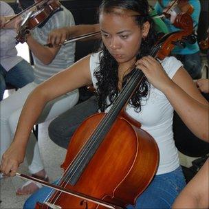 Women prisoners play cellos inside Venezuela's Coro prison
