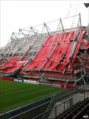 The roof of FC Twente's stadium in Enschede after it collapsed