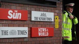 Signs outside News International