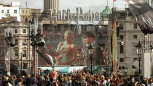 Big screen in Trafalgar Square showing JK Rowling and Harry Potter