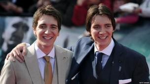 Actor twins James and Oliver Phelps who play the characters Fred and George Weasley
