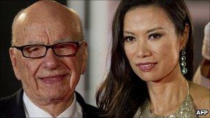 Rupert Murdoch (L) and his wife Wendi Deng