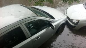 Parked cars in flooding in Edinburgh