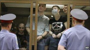 Defendants in the dock in Moscow, Russia (12 July 2011)