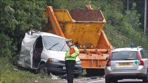 Three injured in A27 skip lorry collision near Brighton