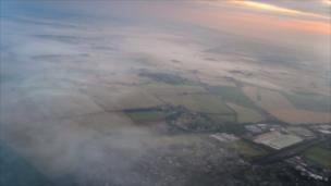 First picture from the meteorological weather balloon's camera.