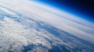 A picture from the meteorological weather balloon's camera.