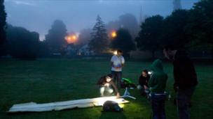 The team making their weather balloon.