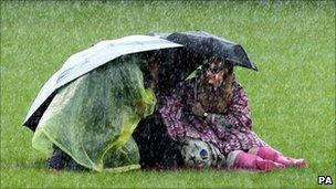 Sheltering under umbrellas at the T in the Park music festival in Scotland