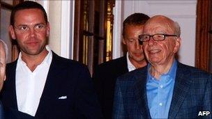 James Murdoch (left), with his father Rupert Murdoch
