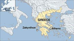 Map showing location of Zakynthos