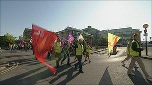 Council workers marching through Southampton