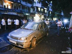 Damaged car in Dadar district of Mumbai, India - 13 July 2011