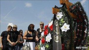 Funeral for boat captain Alexander Ostrovsky. 13 July 2011