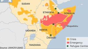 Map of drought in the Horn of Africa