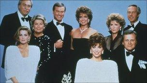 The cast of Dallas in 1983