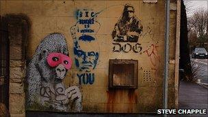 Banksy painting on wall in Eastville. Pic copyright Steve Chapple