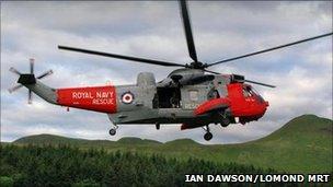 Helicopter in rescue (Pic: Ian Dawson/LomondMRT)