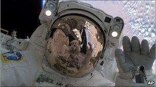 Astronaut taking part in a space walk