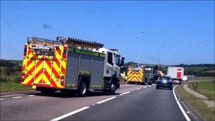 A90 crash scene