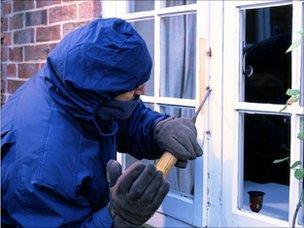Burglar breaking into a house (model)