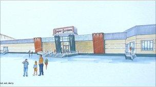 An artist's impression of the completed cinema project