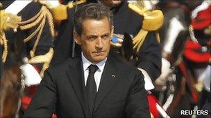 French President Nicholas Sarkozy at a Bastille Day parade in Paris on 14 July