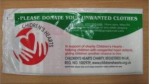 A genuine charity collection bag