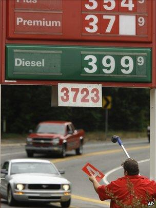 US fuel prices at garage