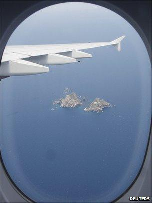 view of the islands from Korean Air plane
