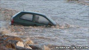 A car belonging to one of the rescued people was later towed to safety