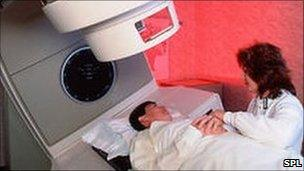 Cancer patient about to receive radiotherapy