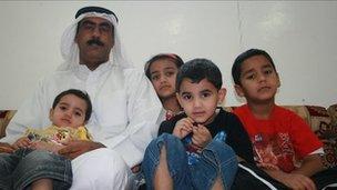 Lafi Al Lahfani with his children