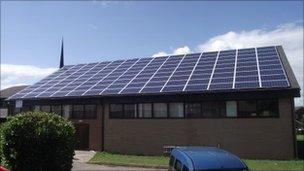 Solar panels at Christ Church in Bayston Hill