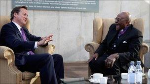 David Cameron and Desmond Tutu