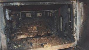 The remains of the fuse box after the fire
