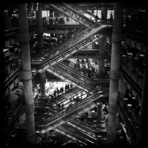 Inside the Lloyd's building, Lime Street, London.
