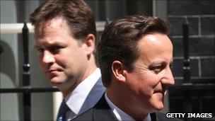 Deputy Prime Minister Nick Clegg and Prime Minister David Cameron