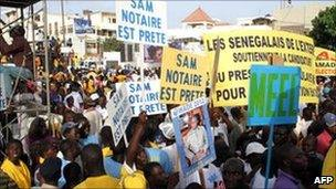 Hundreds of thousands rally in support of Senegal's President Abdoulaye Wade in Dakar, 23 July 2011