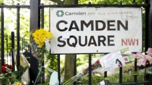 Camden Square - flowers and messages left by fans.