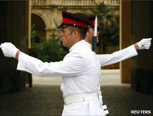 The changing of the guard ceremony outside the presidential palace in Valletta, Malta, 25 July