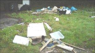 Rubbish dumped on A39 in Cornwall