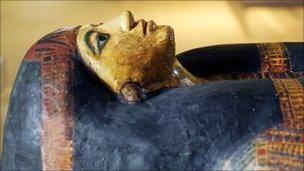 Egyptian coffin in the museum