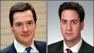 Chancellor George Osborne (left) and Labour leader Ed Miliband