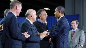 President Barack Obama and auto executives
