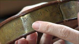 Peter's collar, with inscription 'Peter the Wild Man of Hanover. Whoever will bring him to Mr Fenn at Berkhamsted shall be paid for their trouble'