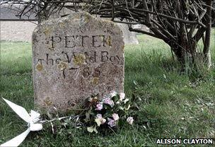 Peter the Wild Boy's grave in St Mary's churchyard, Berkhamsted (photo courtesy Alison Clayton on Flickr)