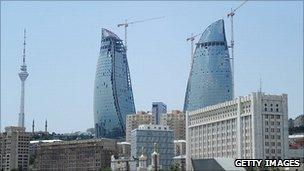 New towers being built in Baku