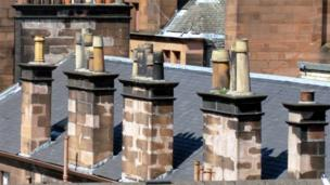 Chimneys on rooftops