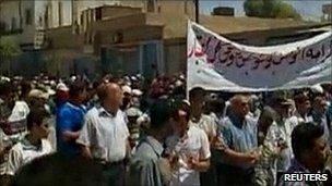 Amateur video grab believed to show protest in Qamishli, north-east Syria. 5 Aug 2011